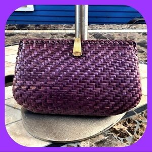 VINTAGE Lacquered Wicker Purple Bag By Greta Italy